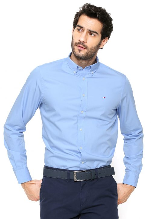 Camisa Social Tommy Hilfiger azul Bebê regular fit