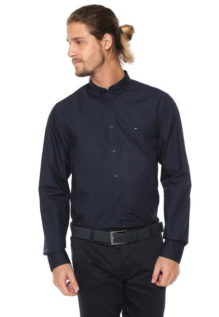 Camisa Social Tommy Hilfiger Azul Marinho regular fit