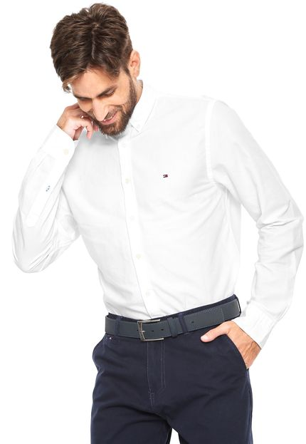 Camisa Social Branca Regular Fit- Tommy Hilfiger