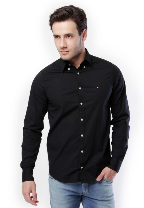 Camisa Social Tommy Hilfiger Preta regular fit